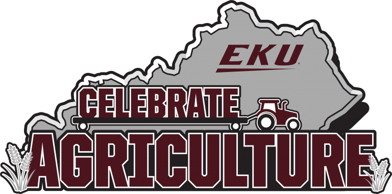 "state of Kentucky in gray with words ""EKU Celebrate Agriculture"" in maroon"