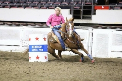 Larken Jones competing with her mare Excitabull Lady