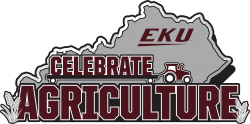 """state of Kentucky in gray with words """"EKU Celebrate Agriculture"""" in maroon"""